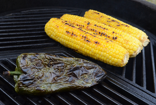 fire roast chile, craycort grate, fire roasted corn