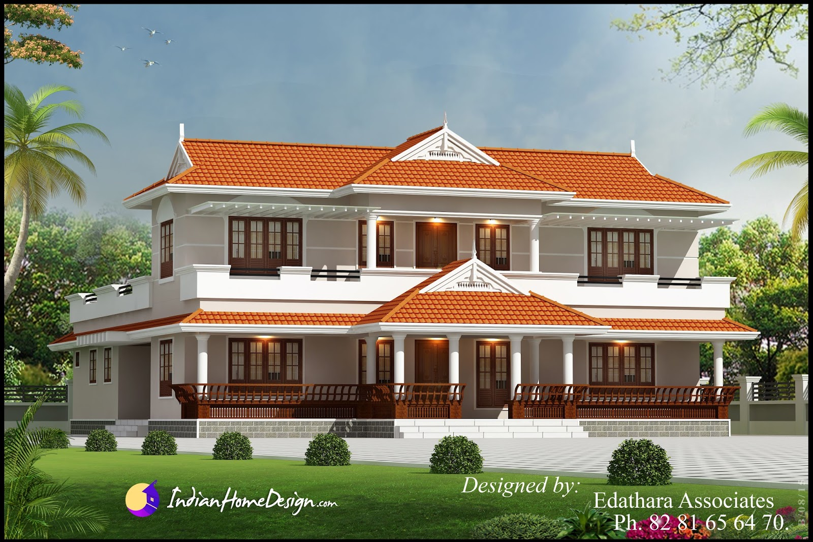 Kerala style 2288 sqft villa design traditional double for Traditional indian house designs