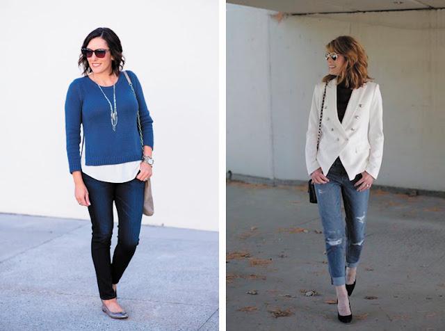 Свитер с белой рубашкой и водолазка с жакетом и джинсами