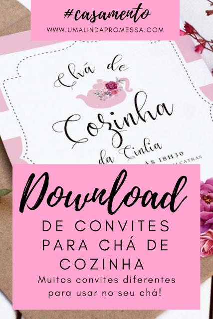 Download Grátis de convites para chá de cozinha