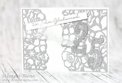 Karte zur Silberhochzeit; Stampinup Blumenboutique; Hochzeitspapeterie; Stempel-Biene; Stampin up Blog; Stampinup Winterkatalog 2016