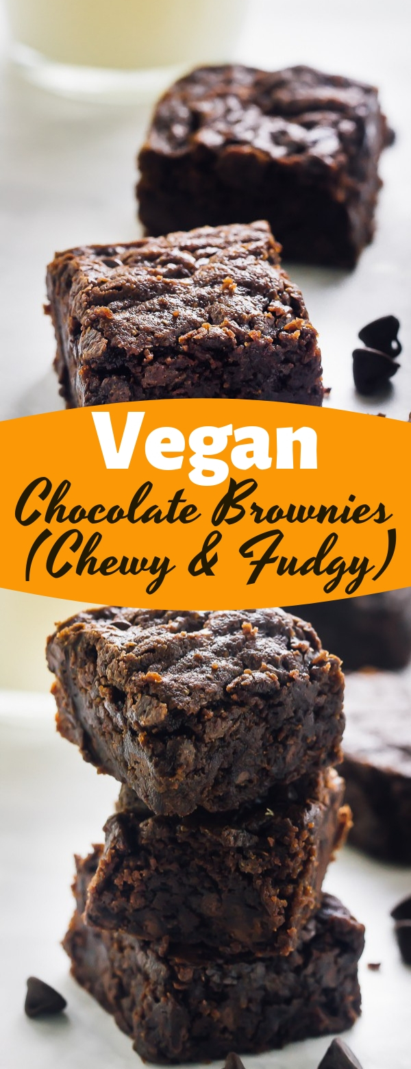 Vegan Chocolate Brownies (Chewy & Fudgy) #vegan #chocolate