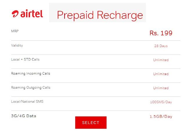 airtel 199 prepaid plan details