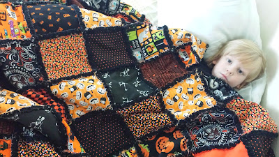 autumn halloween rag quilt, handmade fall blanket by refabulous