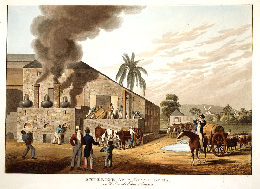 An Antigua rum distillery in 1823 via University of Virginia
