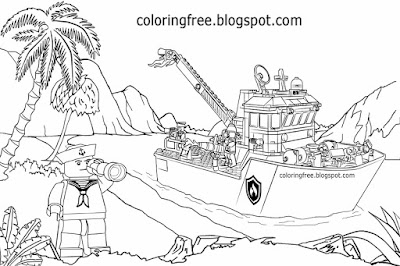 Printable beach tropical ocean water sailor coastguard sea boat Lego city colouring pages for teens
