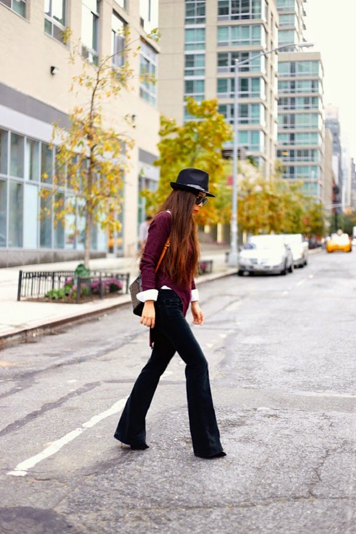 asos ribbed sweater with side slit, jbrand velvet martini jeans,topshop fedora hat, karean walker harvest sunglssess, baublebar 360 pearl studs earrings, louis vuitton bag, casadei booties,how to, streetstyle, fashion blog, nyc, shallwesasa, OOTD, OOTN, outfit