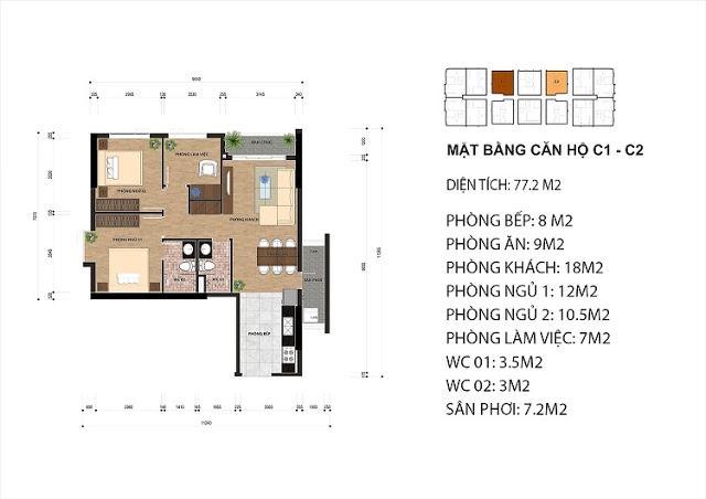 Thiết kế căn hộ C1 - C2 chung cư One 18 Ngọc Lâm