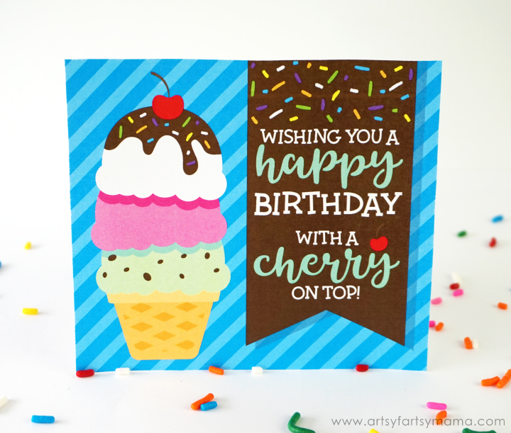 Ice Cream Sundae Birthday Gift Idea with Free Printable Birthday Card #AsYouWishPottery #whatcolorisyourfun