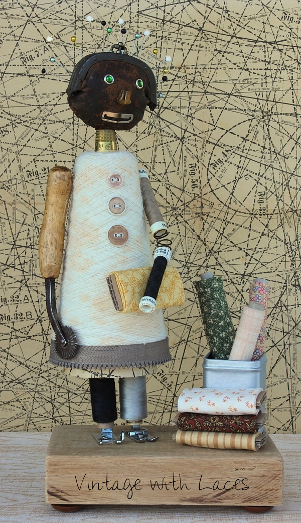 Found Object Sculpture Seamstress by Vintage with Laces