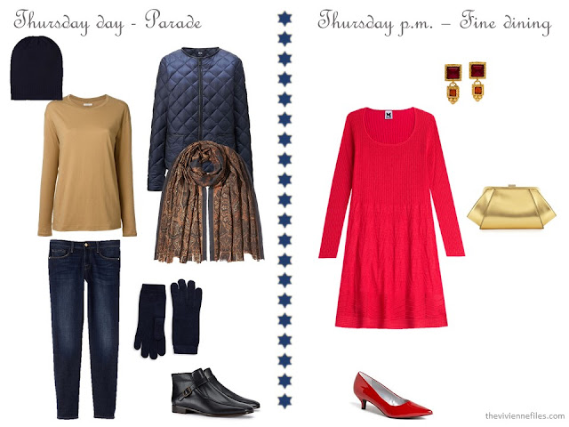 navy and camel casual outfit, red sweater dress with dressy accessories