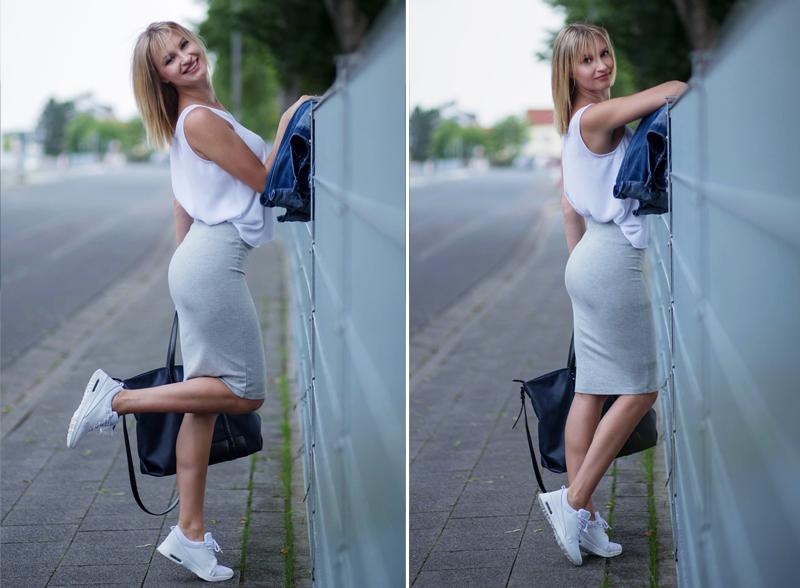 długie nogi, grzywka, blond włosy, patrycja dobrowolska, adidasy, biale adidasy, sneakersy, shopper, zakupoholiczka, smile, uśmiech, piękne kobiety