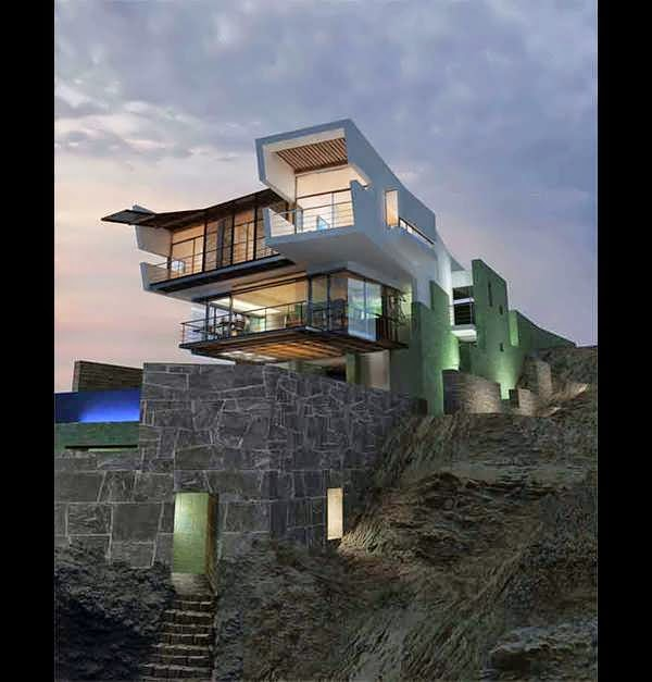 7 Amazing Houses Built Into Nature: AMAZING PERU LEFEVRE BEACH HOUSE DESIGN OVERLOOKING THE
