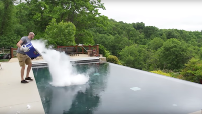 See why this guy dumps dry ice into the pool