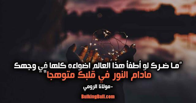 """3- """"ما ضرك لو أطفأ هذا العالم اضواءه كلها في وجهك مادام النور في قلبك متوهجا"""" - مولانا الرومي"""