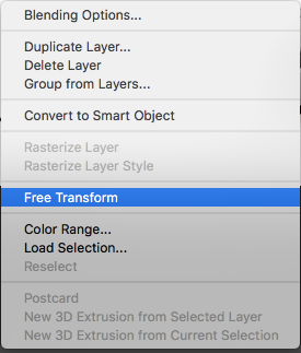 resize layers in Photoshop
