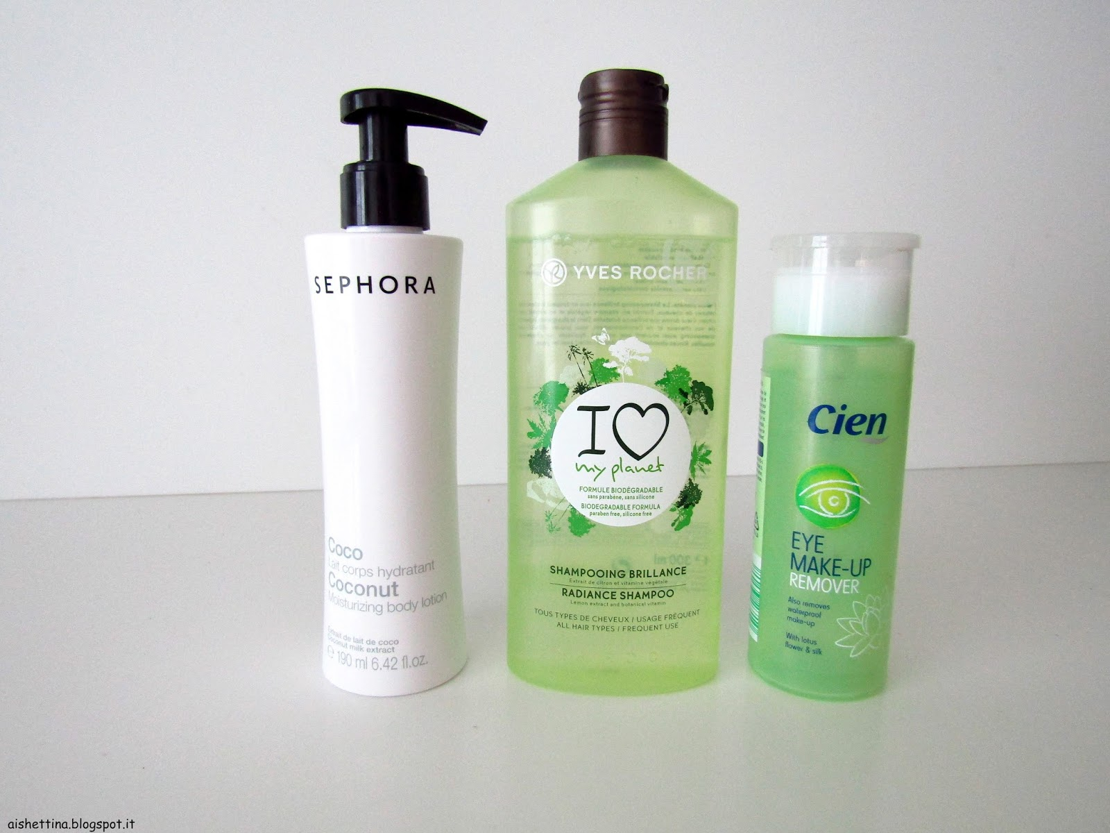sephora body cream, yves rocher shampoo and cien eye makeup remover