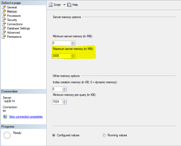 There is insufficient system memory in resource pool 'internal' to run this query. - Article on SQLNetHub