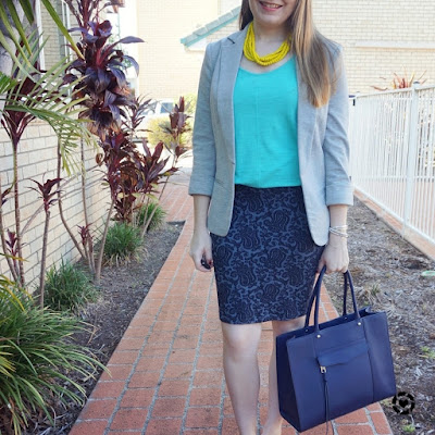 awayfromblue instagram | grey jersey blazer, blue tank and jacquard pencil skirt outfit