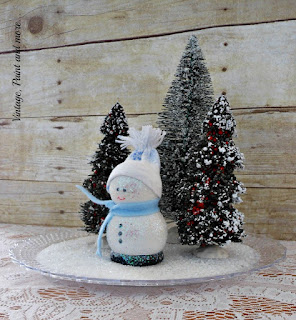 Vintage Paint and more... a cute little diy snowman made from wood craft balls