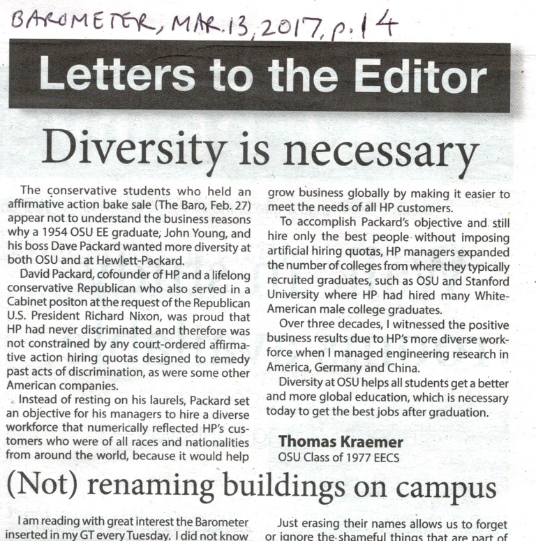 Thomas Kraemer affirmative action letter in OSU Barometer Mar. 13, 2017, p.14
