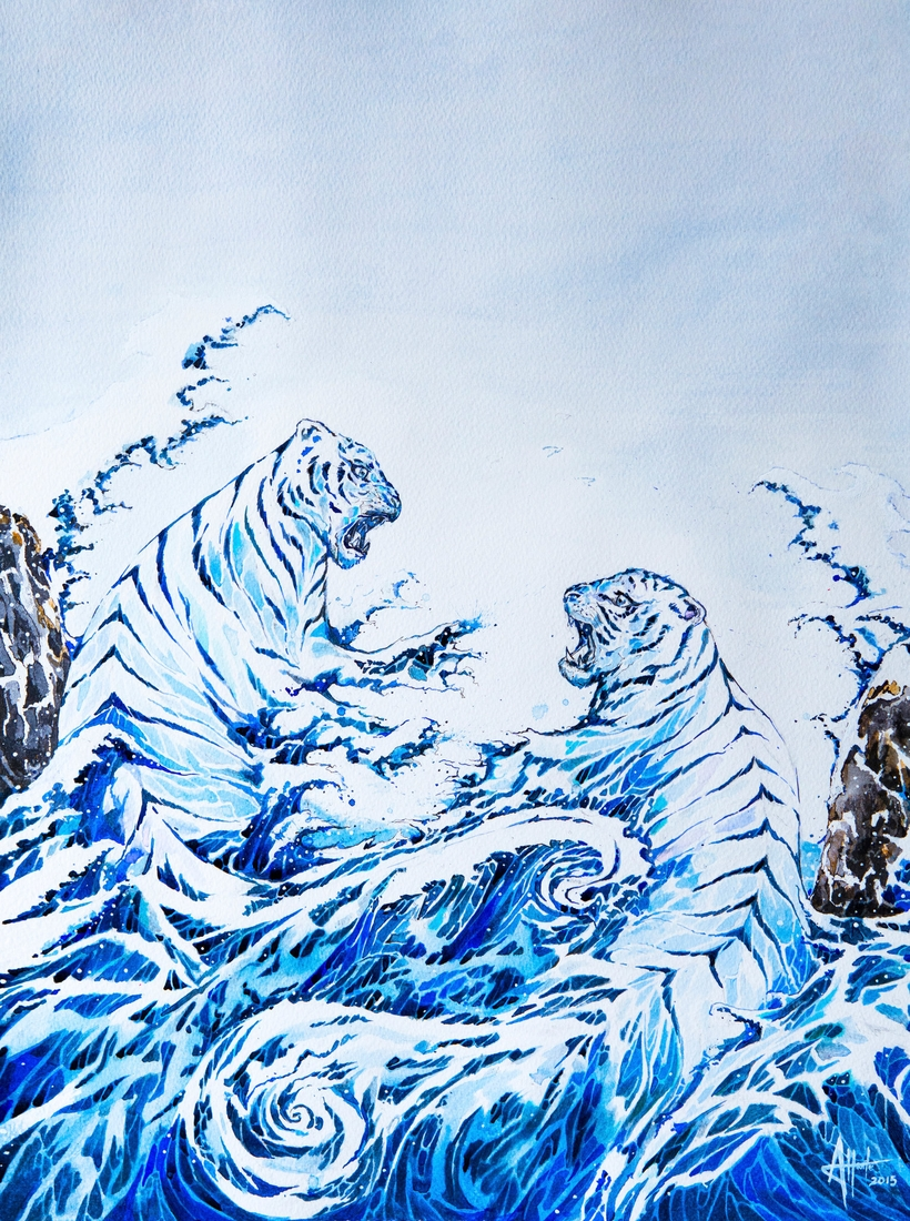 11-Tigers-and-Waves-Marc-Allante-Wild-Animal-Paintings-with-a-Splash-of-Color-www-designstack-co