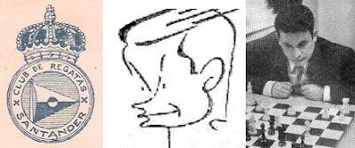 Ramón Cué, foto, caricatura y el escudo de su club de ajedrez