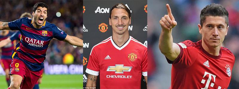 Luis Suarez, Zlatan Ibrahimovic ve Robert Lewandowski