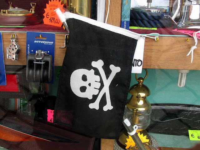 Jolly Roger in a nautical supply shop, Livorno