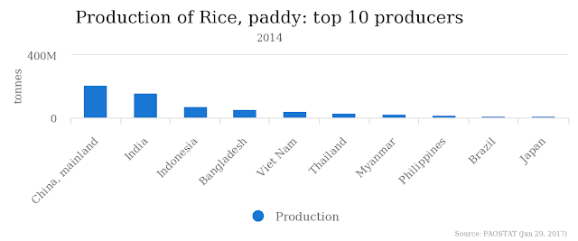 production of rice in the world