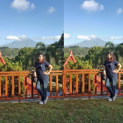 Keindahan Gunung Sumbing dipandang dari depan kamarku.Fantastic! (Dok.Pri)