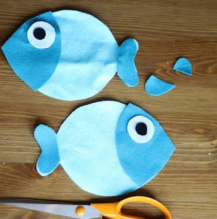 Potongan pola boneka ikan dari kain flanel