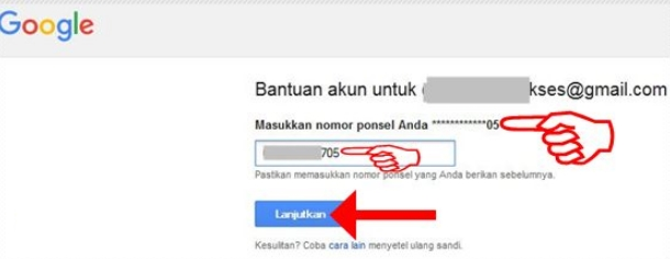 Memasukkan nomor HP untuk keperluan verifikasi akun google