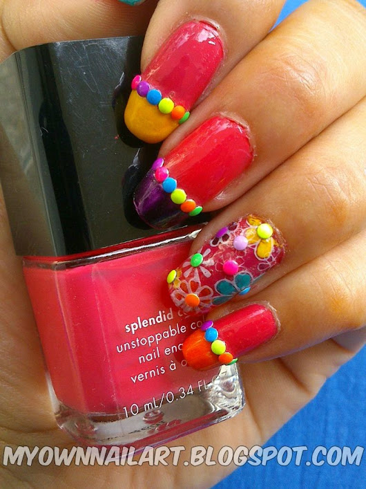 NOTD: Floral Nail Stamping with Neon Studs