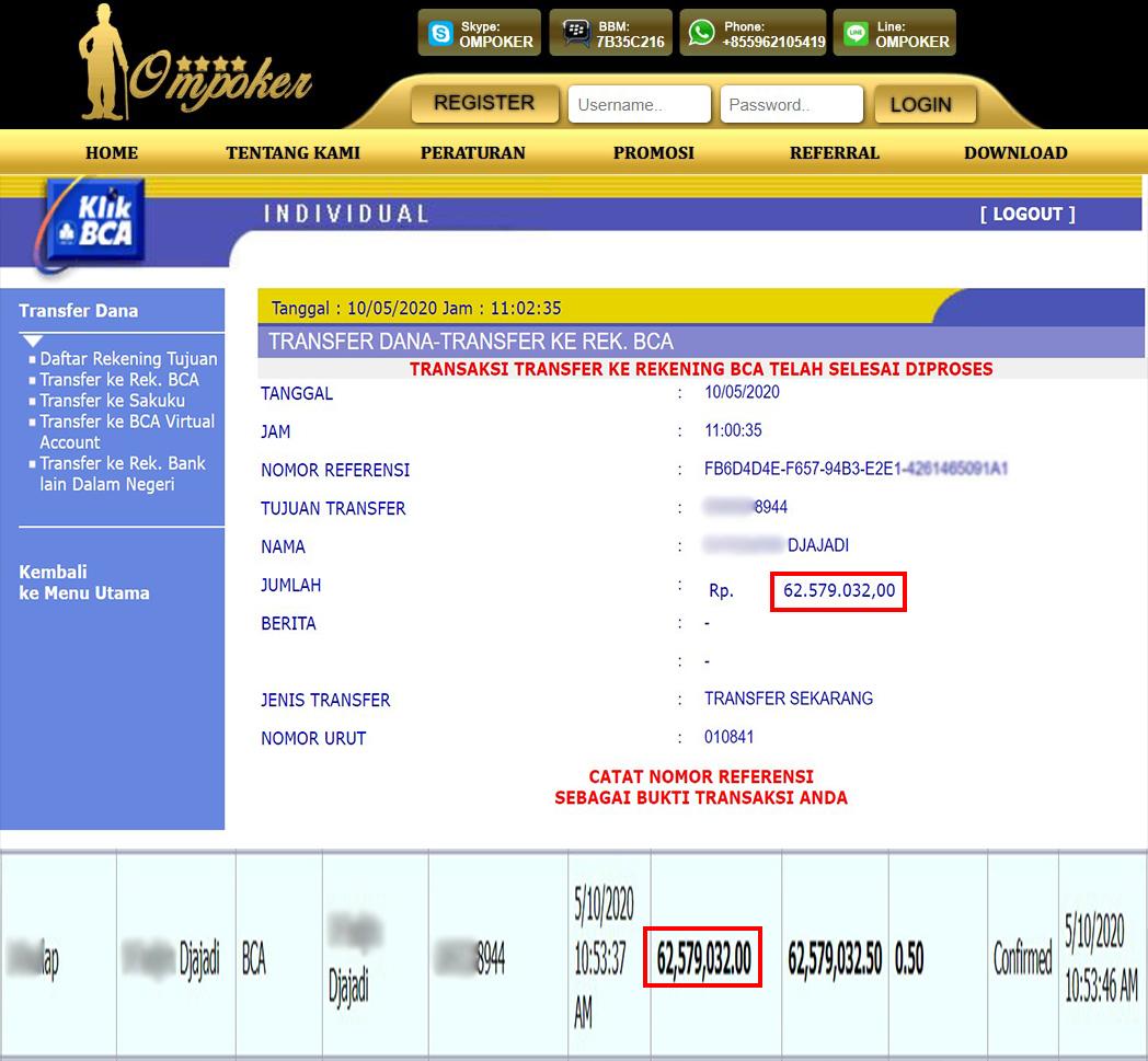 Selamat Kepada Member Setia Ompoker WD Rp 62.579.032,-