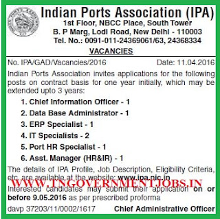 Applications are invited for various Posts in Indian Port Association