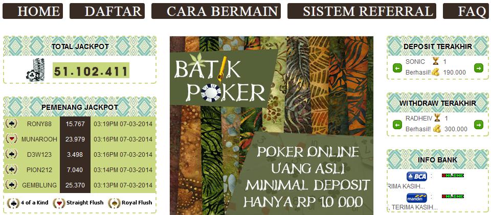 Batik Judi Poker Line Uang Asli Indonesia KIANUNAFISHA