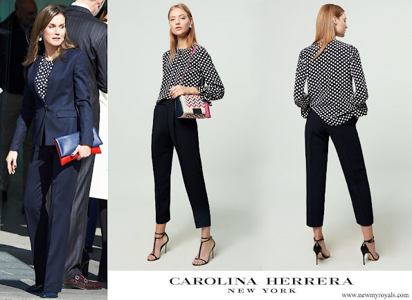 Queen Letizia wore a Carolina Herrera navy ecru polka dot silk top
