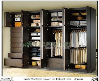 Dalam lemari minimalis full plafon cabinet unit Luxor