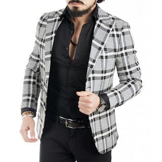 Beyaz-siyah ekoseli ceket