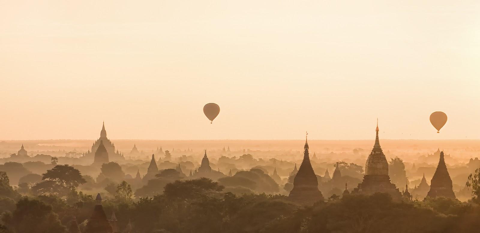 balony,Birma,Bagan,pagody