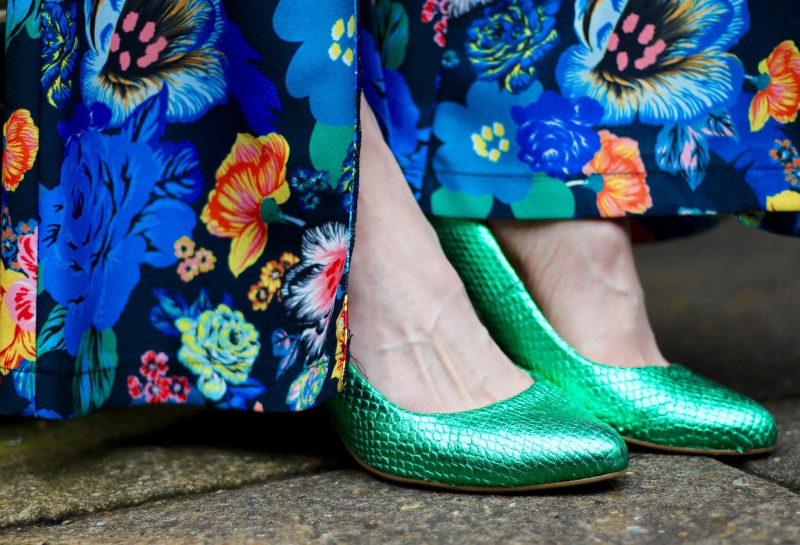 Blue Floral Topshop Jumpsuit and Green Metallic Shoes | Fake Fabulous