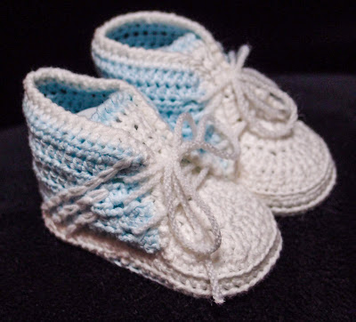 crocheted adidas baby booties