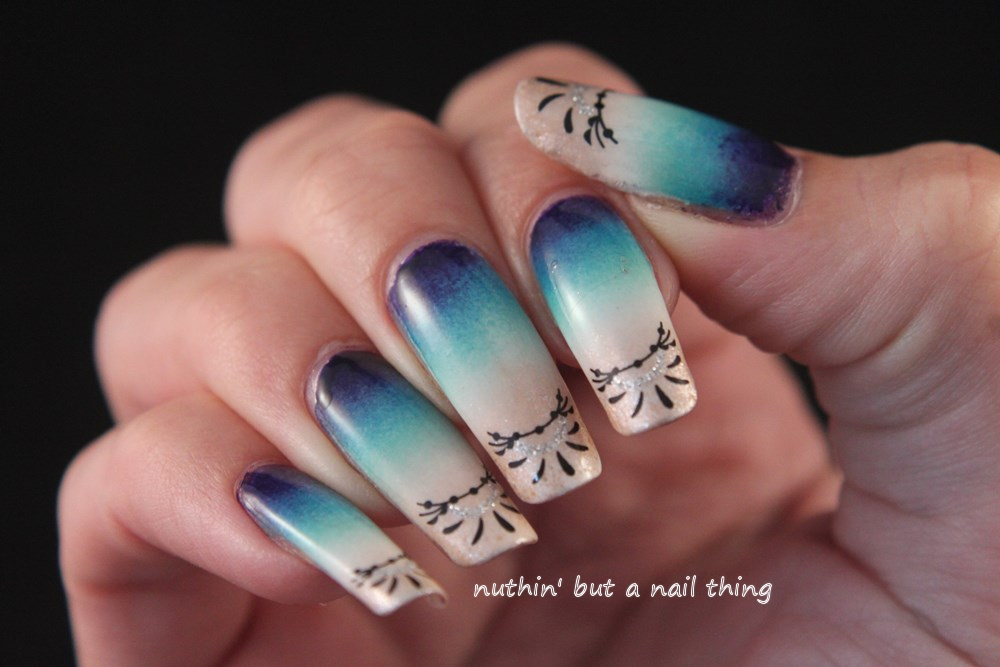 Beach inspired gradient nail art