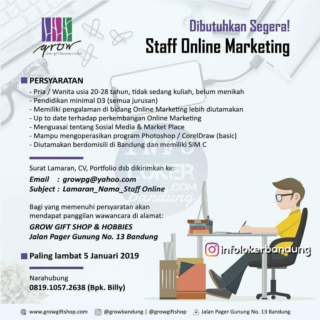Lowonham Kerja Staff Online Marketing Growt Gift Bandung Desember 2018