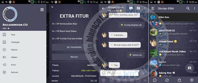 Download BBM Mod Dark Navy Theme Versi 3.0.1.25 Apk Terbaru
