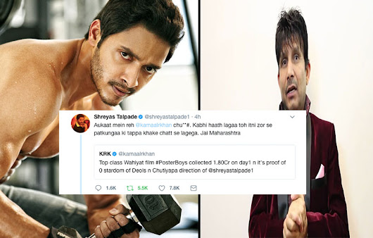 Shreyas Talpade Shuts Down Kamal R Khan on Twitter, Calls hum Chu***# For Criticizing Poster Boys