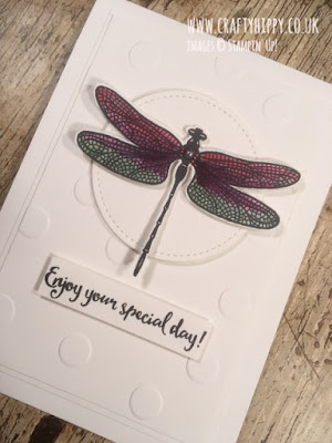 Handmade dragonfly card made using the Dragonfly Dreams stamp set and Polka Dot embossing folder by Stampin' Up!