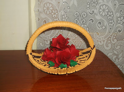 beautiful 3D Origami  basket with flowers