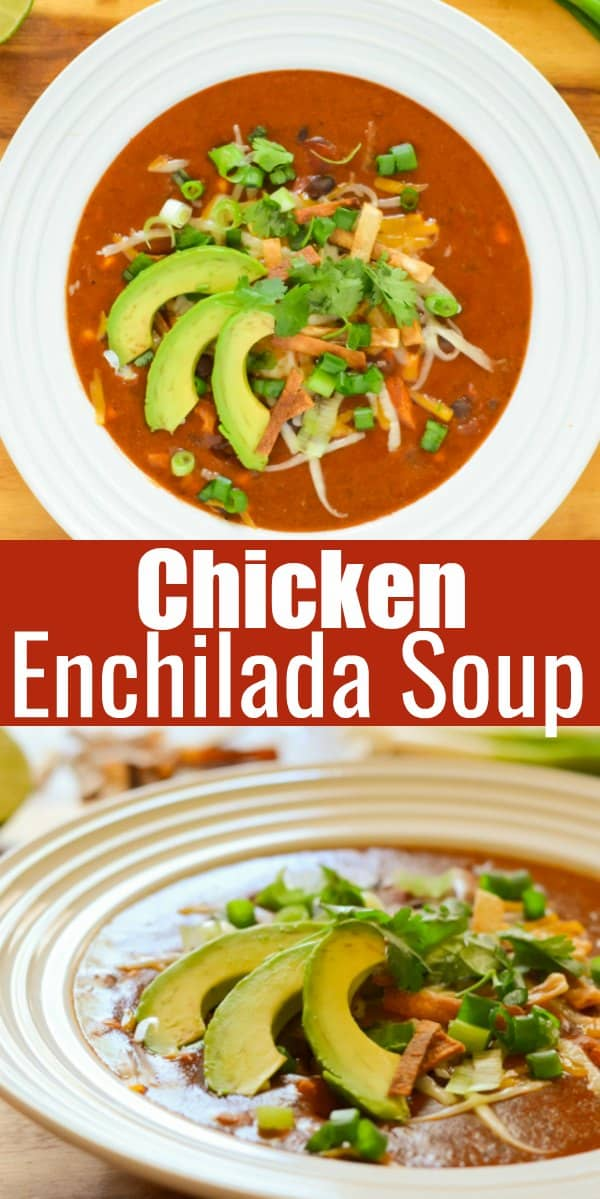 Chicken Enchilada Soup recipe is like the Enchilada Soup Recipe from Chilis. It's one of my favorite soups, naturally gluten free, easy to make in  under 30 minutes and so good from Serena Bakes Simply From Scratch.